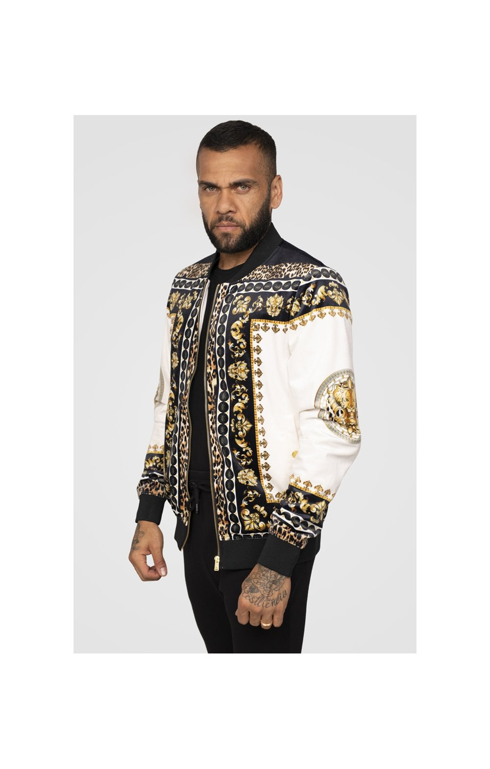 Load image into Gallery viewer, SikSilk x Dani Alves Bomber Jacket - Black, Off White & Gold