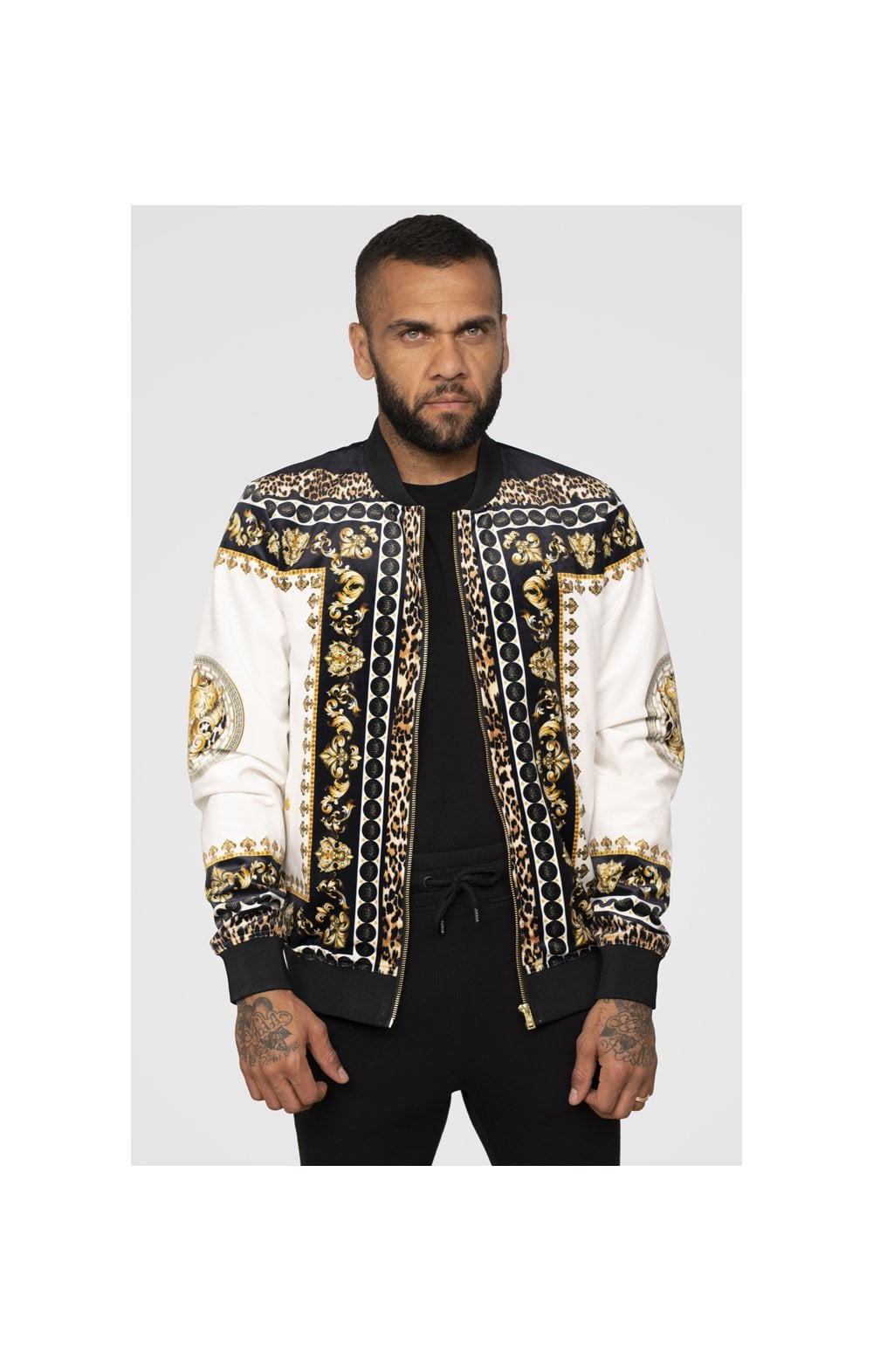 Load image into Gallery viewer, SikSilk x Dani Alves Bomber Jacket - Black, Off White & Gold (2)