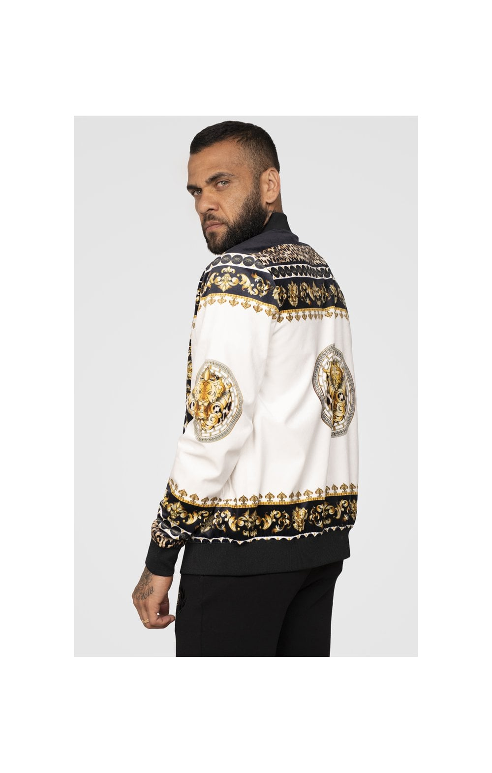 Load image into Gallery viewer, SikSilk x Dani Alves Bomber Jacket - Black, Off White & Gold (3)