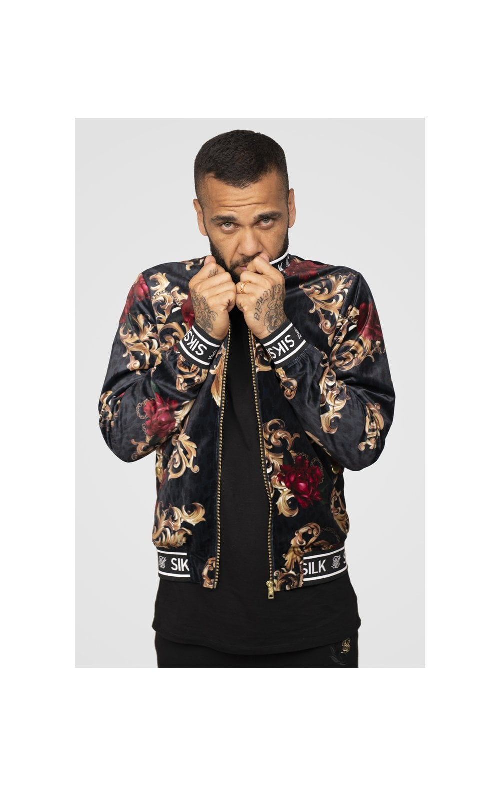 SikSilk x Dani Alves Velour Bomber Jacket - Floral Animal