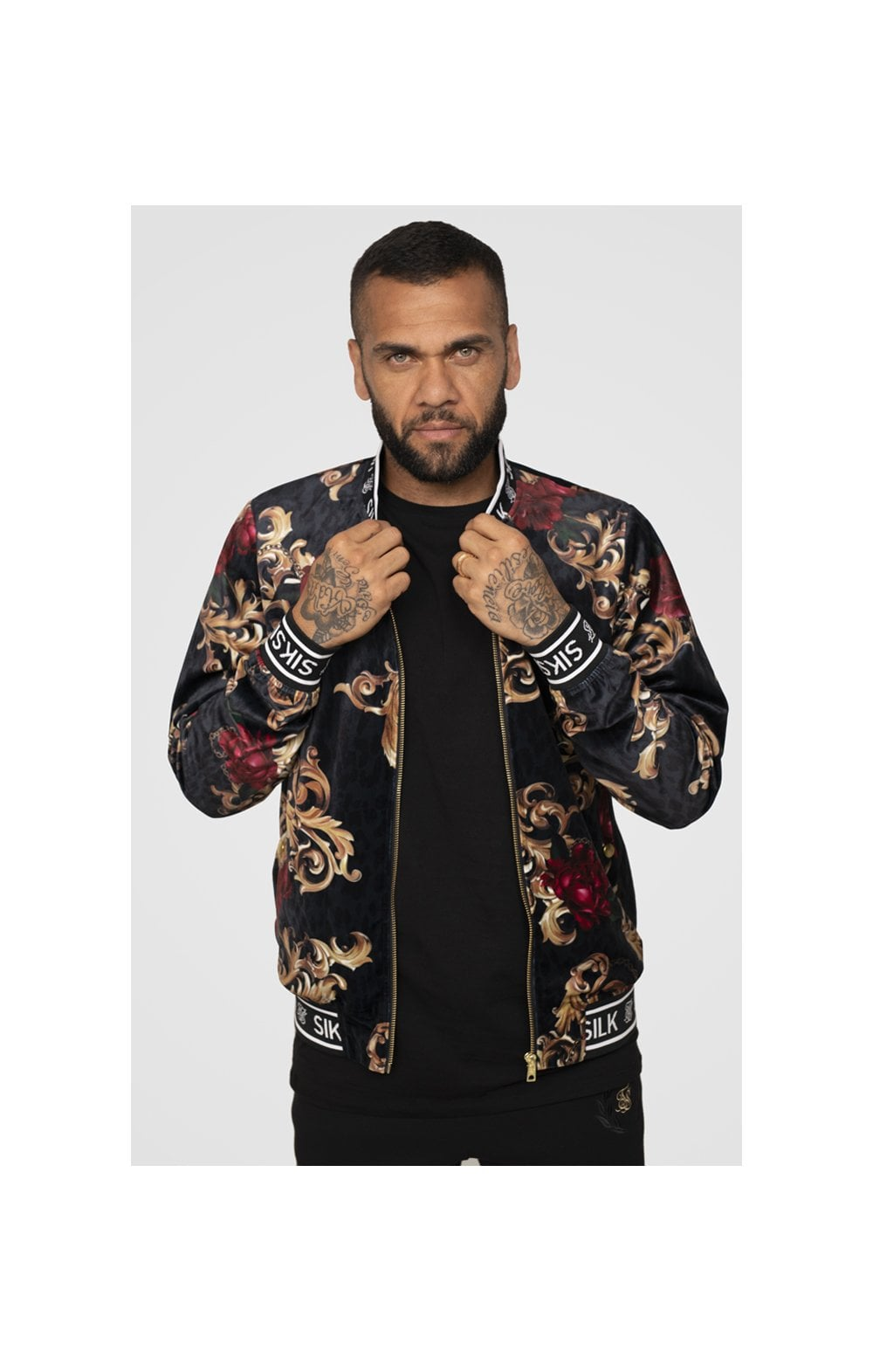 SikSilk x Dani Alves Velour Bomber Jacket - Floral Animal (1)
