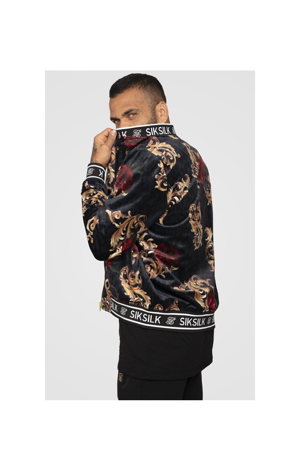 SikSilk x Dani Alves Velour Bomber Jacket - Floral Animal (2)