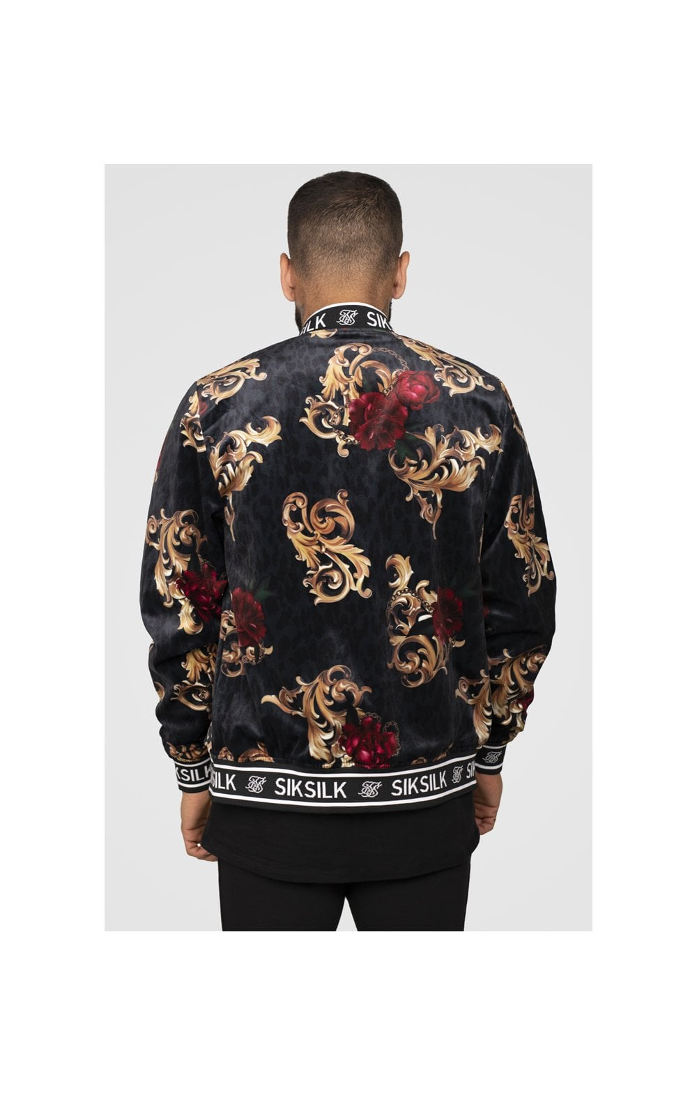 SikSilk x Dani Alves Velour Bomber Jacket - Floral Animal (4)