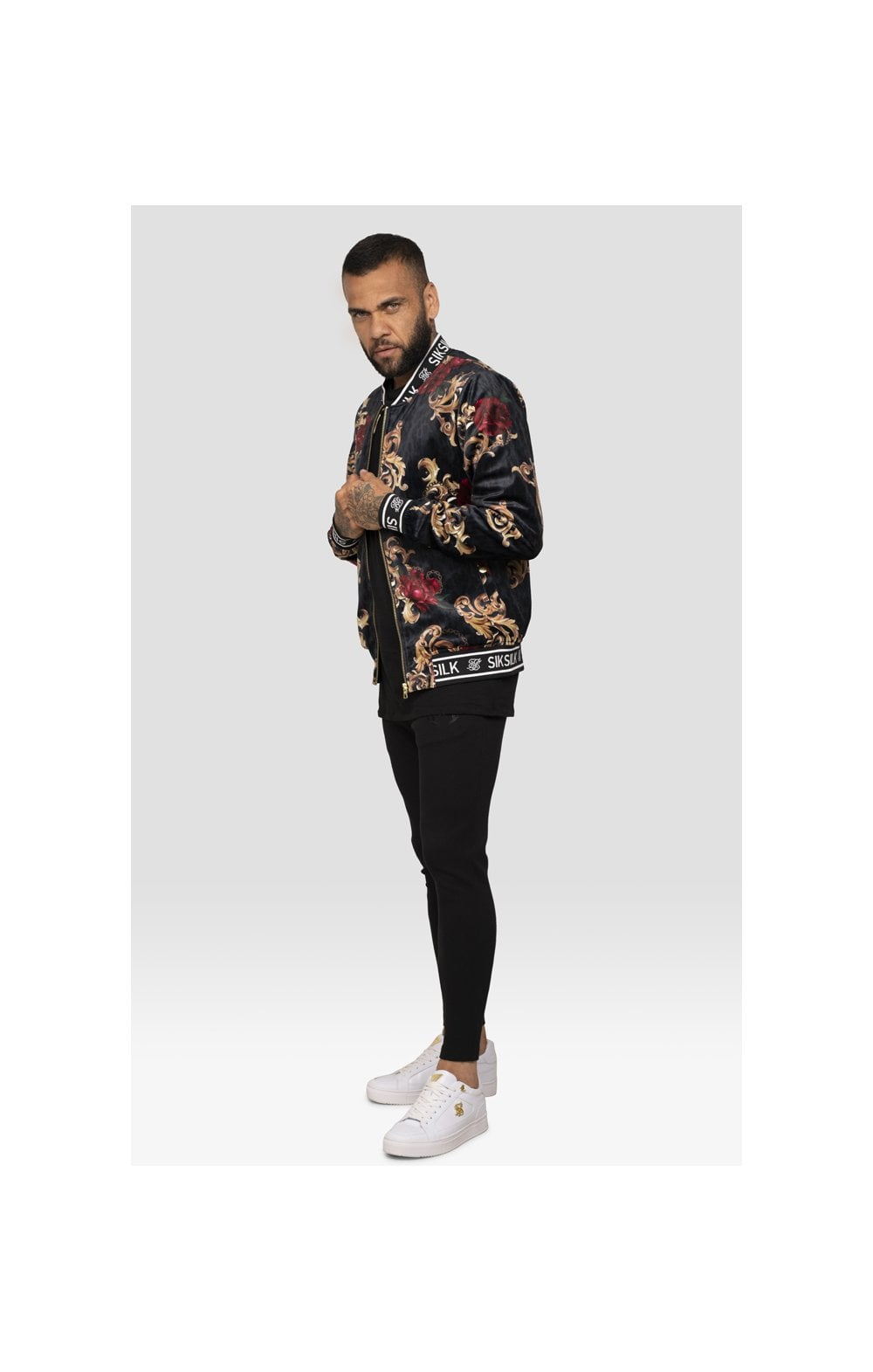 SikSilk x Dani Alves Velour Bomber Jacket - Floral Animal (5)