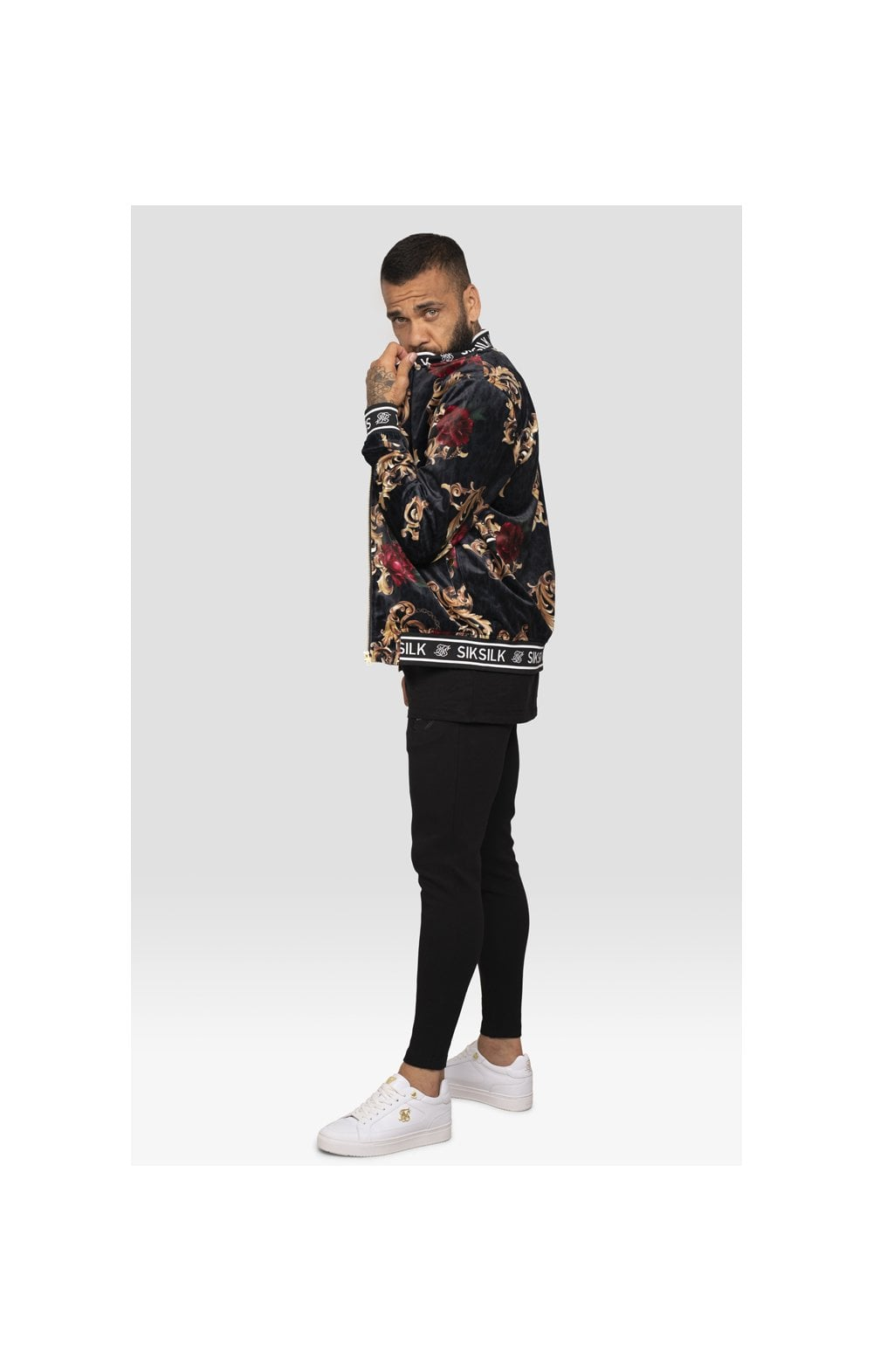 SikSilk x Dani Alves Velour Bomber Jacket - Floral Animal (6)