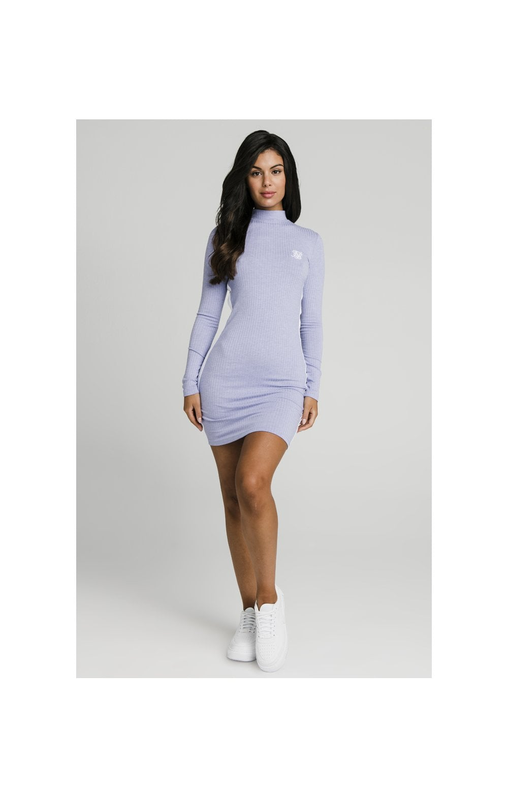 SikSilk Violet Rib Bodycon Dress - Violet (2)