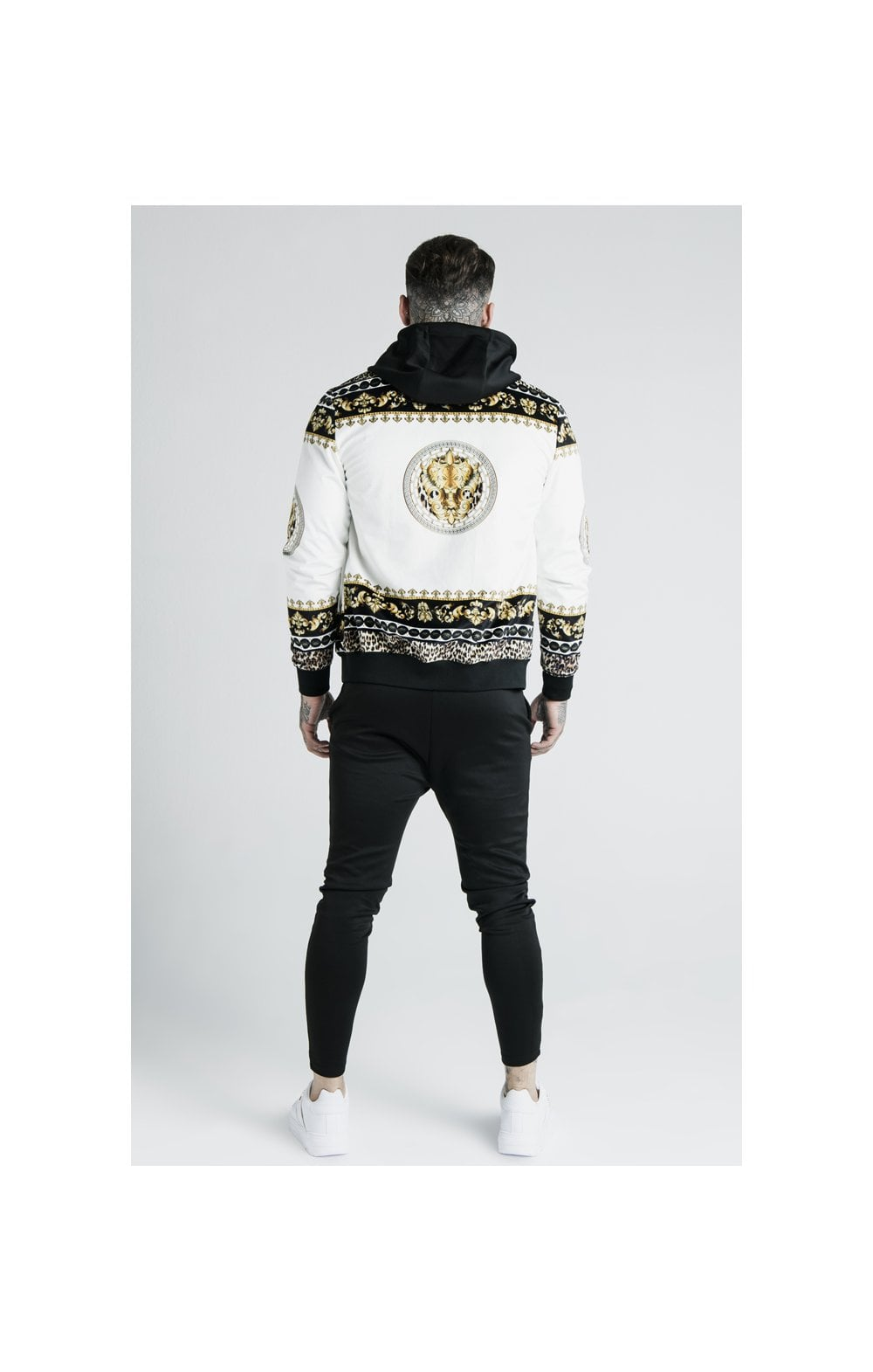 Load image into Gallery viewer, SikSilk x Dani Alves Bomber Jacket - Black, Off White & Gold (5)