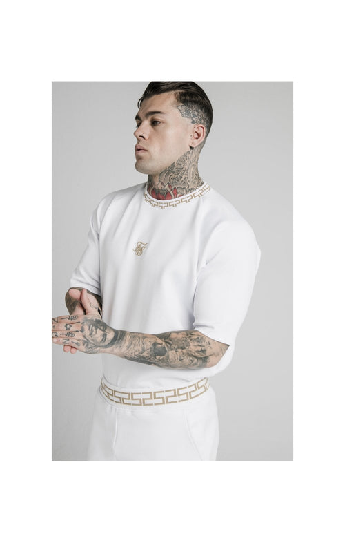 SikSilk S/S Chain Rib Raglan Sweater - White