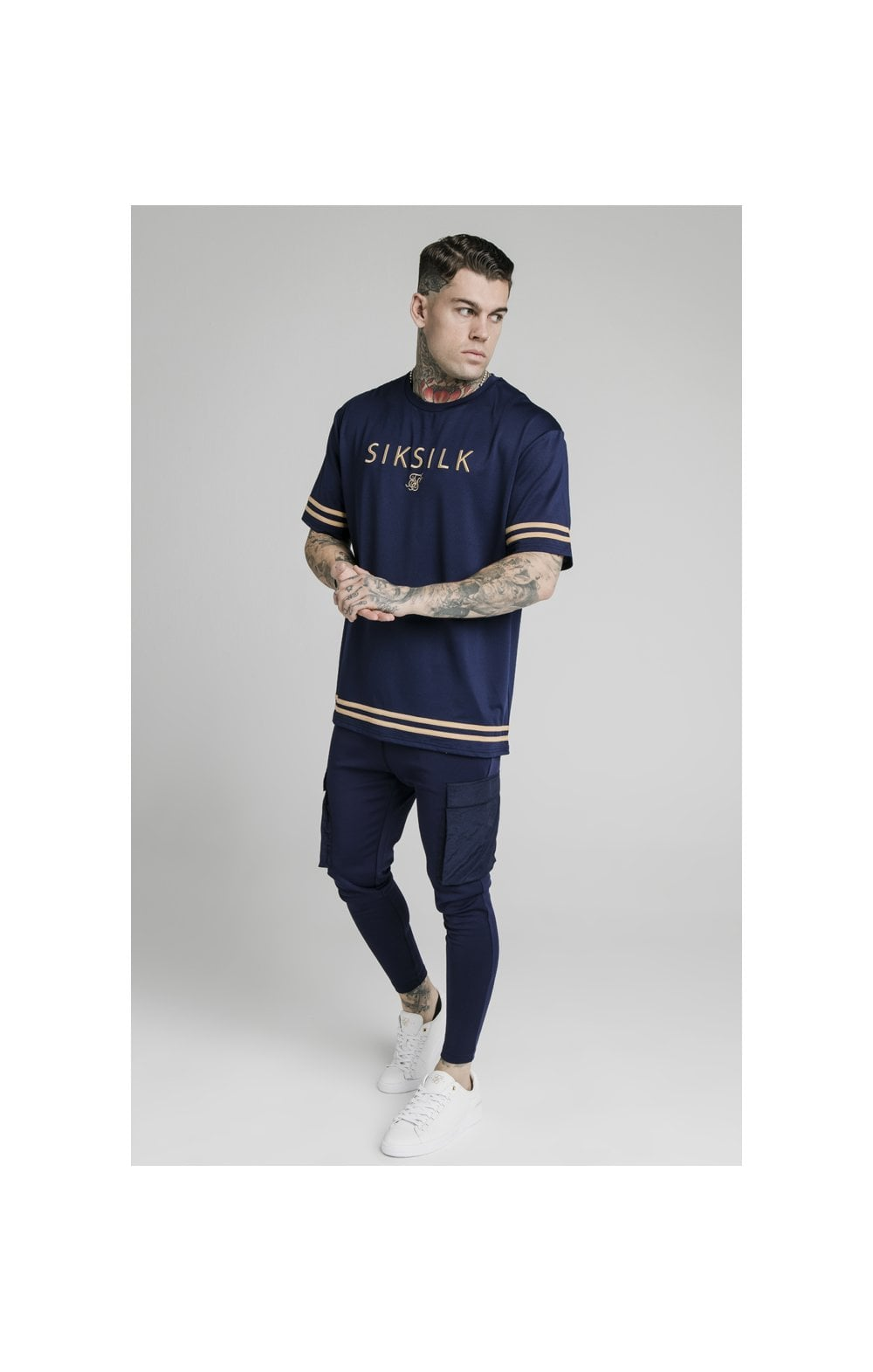 SikSilk S/S Essential Tee - Navy Eclipse (2)