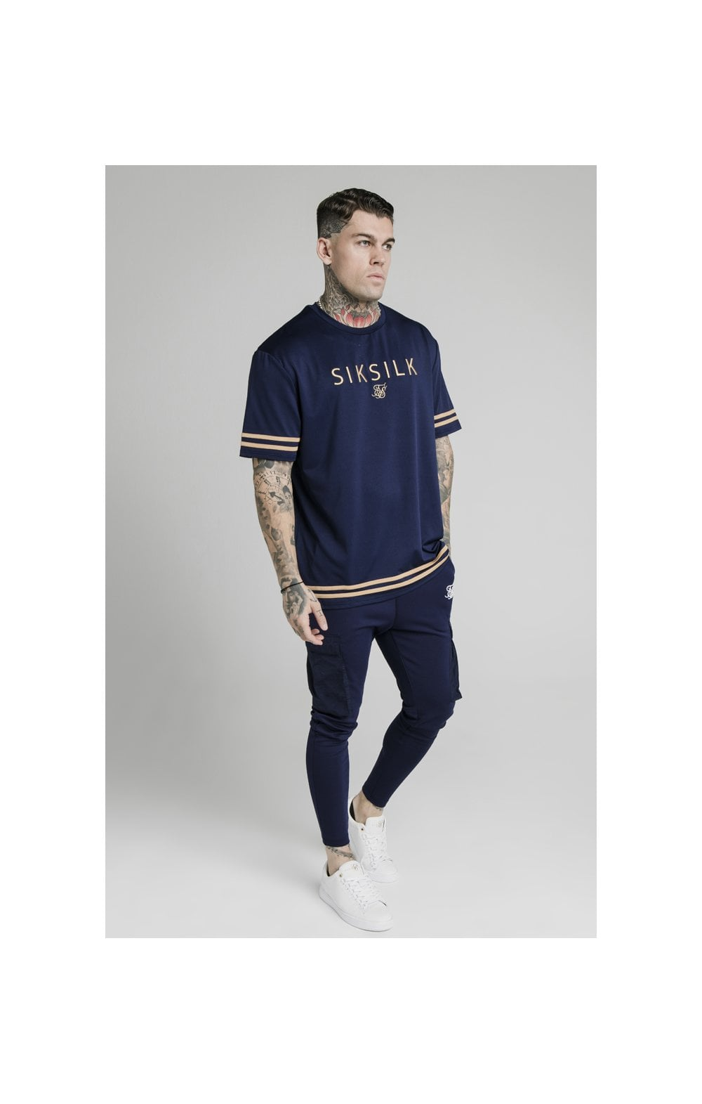 SikSilk S/S Essential Tee - Navy Eclipse (3)