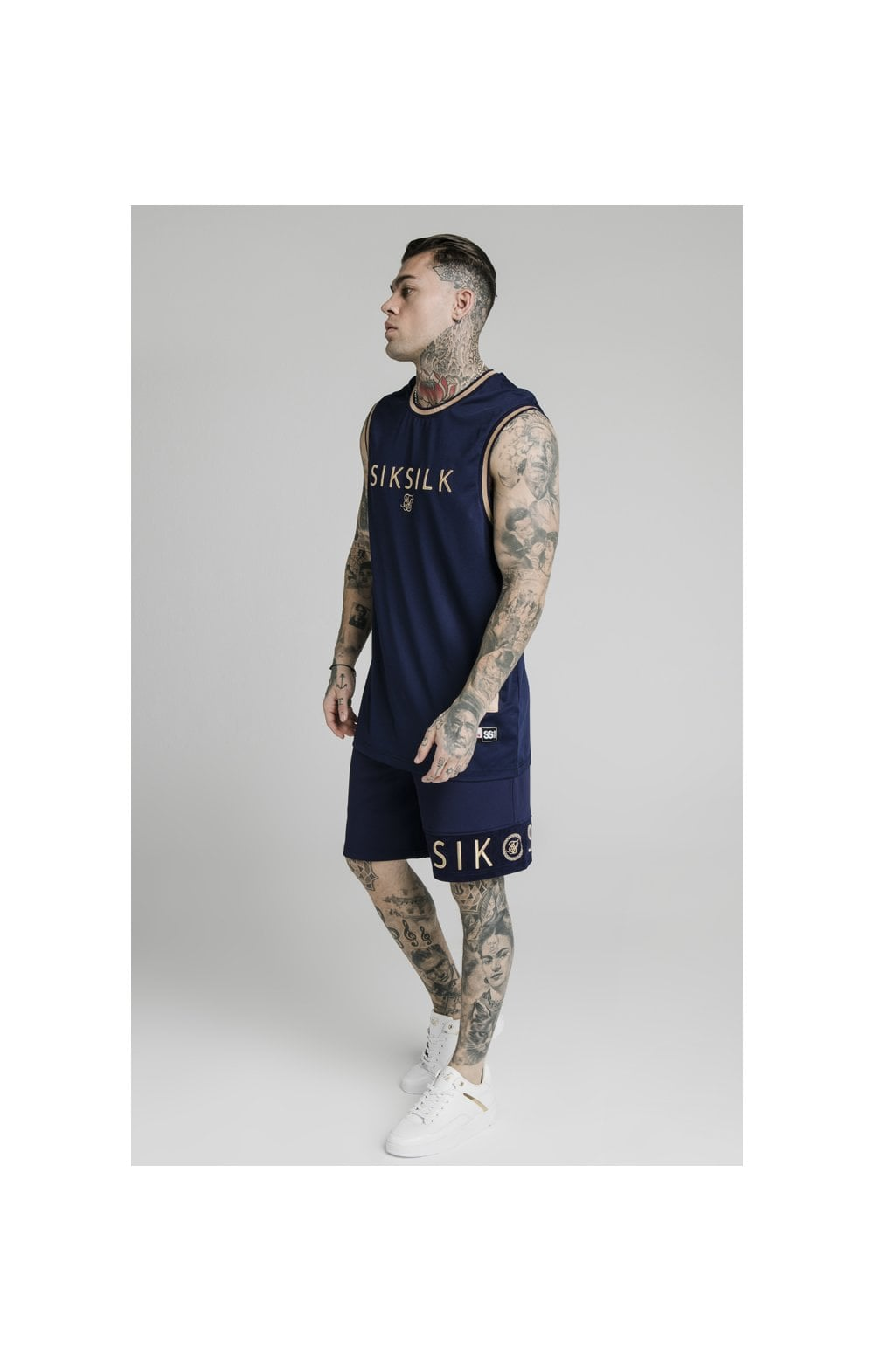 Load image into Gallery viewer, SikSilk Eyelet Mesh Basketball Vest - Navy Eclipse (3)