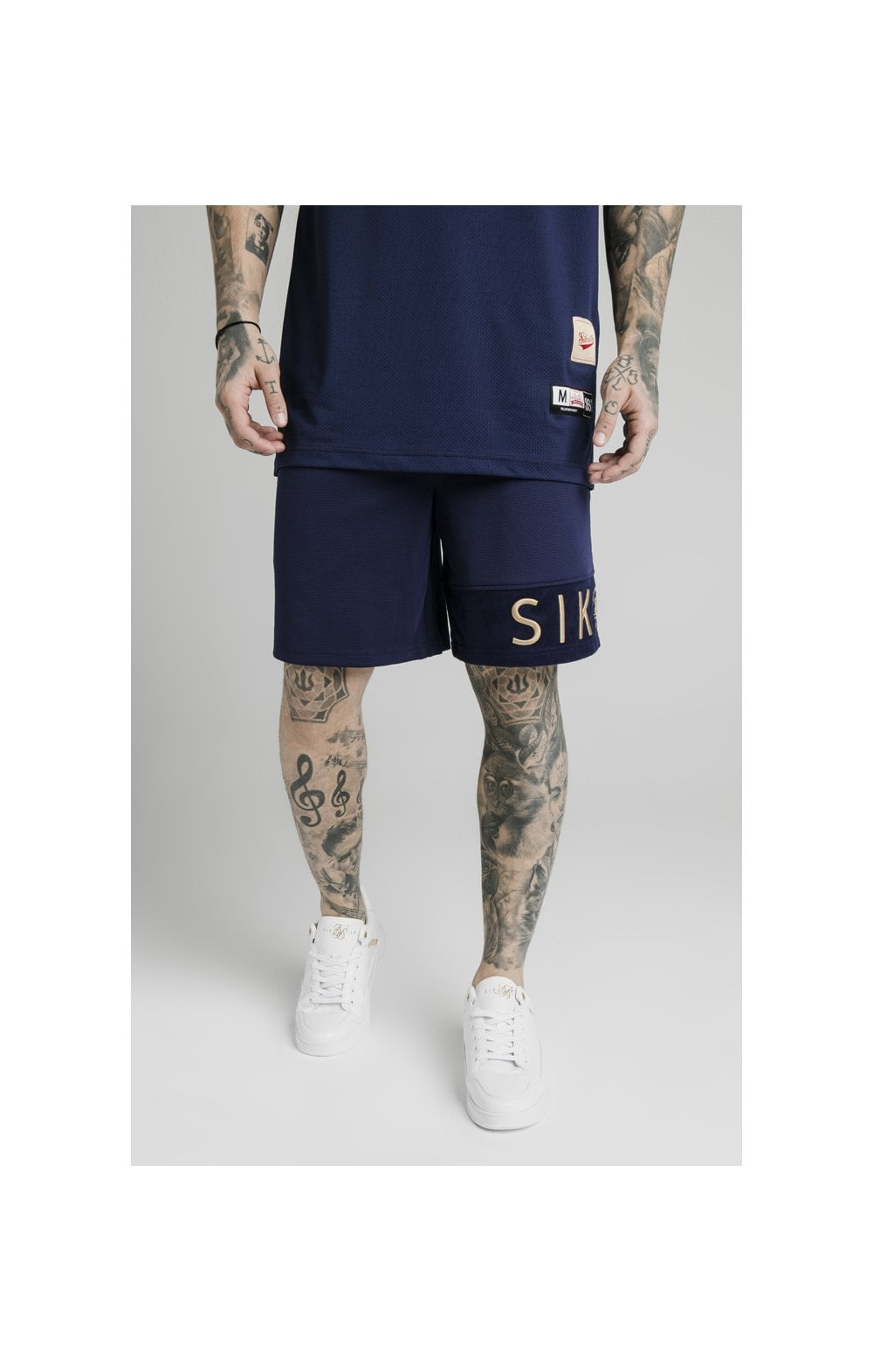 SikSilk Eyelet Panel Relaxed Fit Shorts - Navy Eclipse (1)