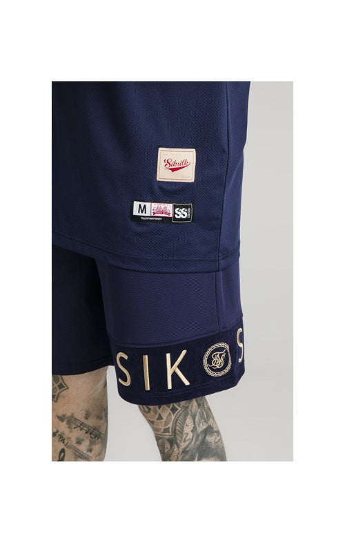 SikSilk Eyelet Panel Relaxed Fit Shorts - Navy Eclipse