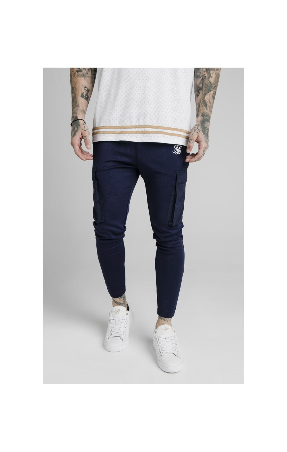 Load image into Gallery viewer, SikSilk Crushed Nylon Cargo Pants - Navy (1)