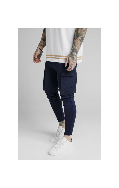 SikSilk Crushed Nylon Cargo Pants - Navy