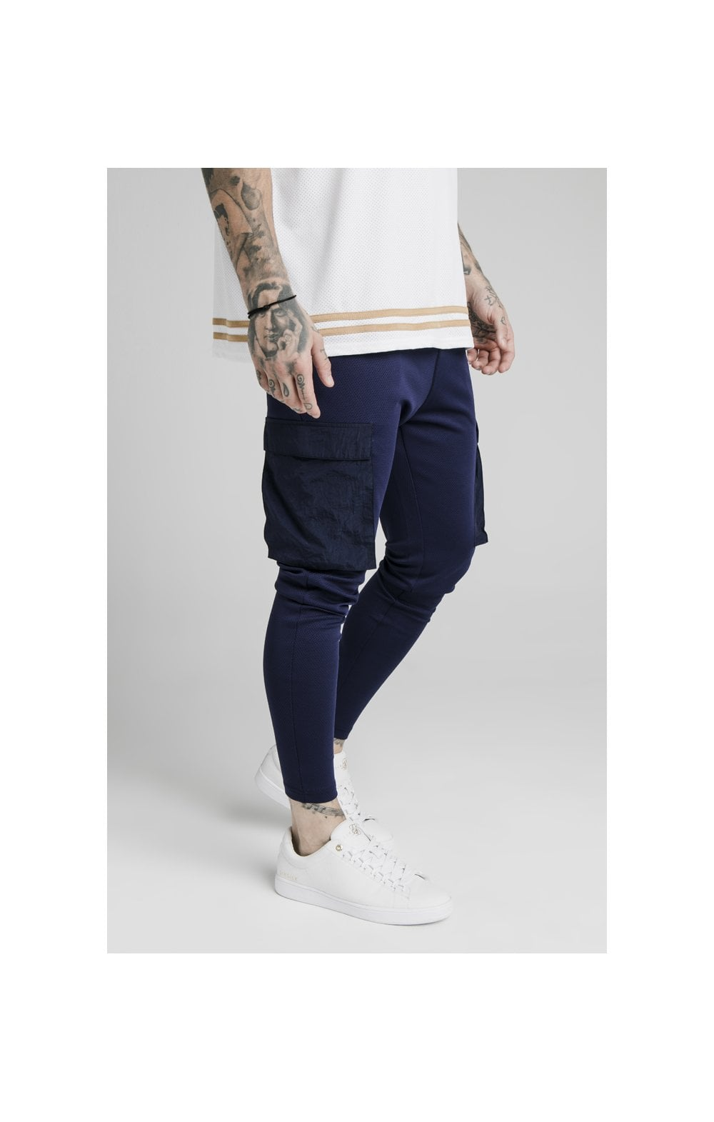 Load image into Gallery viewer, SikSilk Crushed Nylon Cargo Pants - Navy (2)