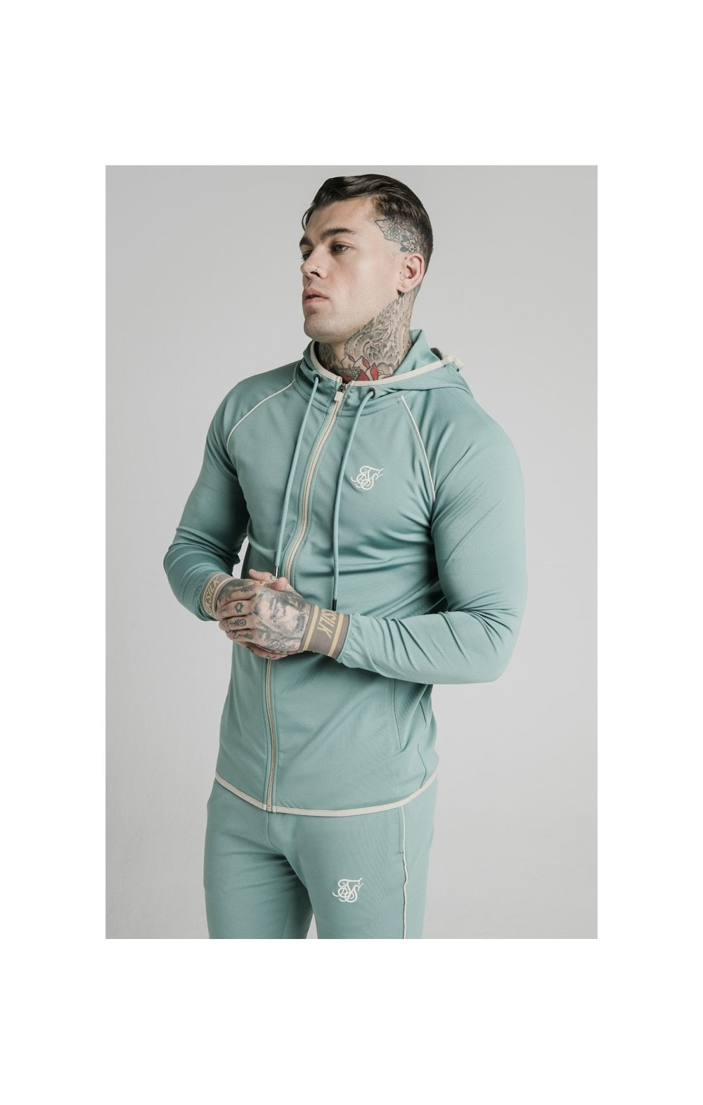 SikSilk Scope Zip Through Hoodie - Light Petrol Blue