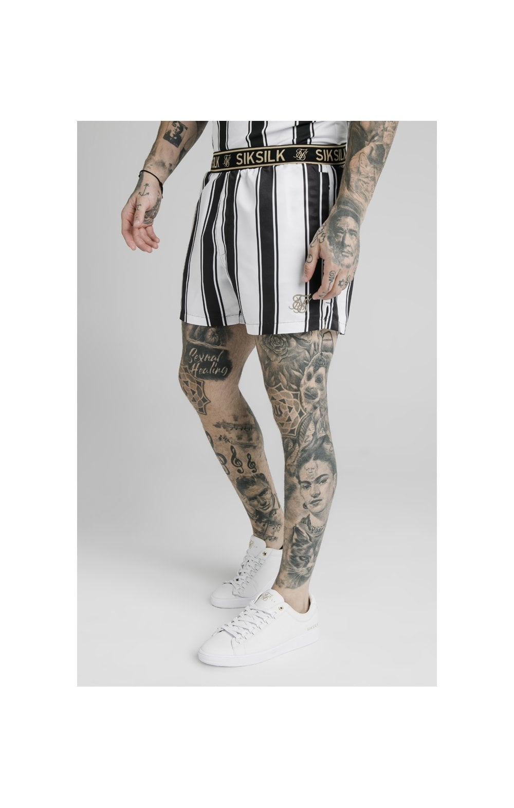 Load image into Gallery viewer, SikSilk Standard Swim Shorts - Black & White (1)