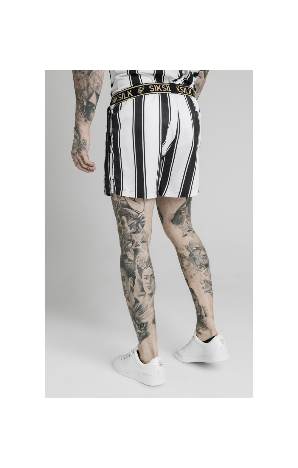 Load image into Gallery viewer, SikSilk Standard Swim Shorts - Black & White (2)