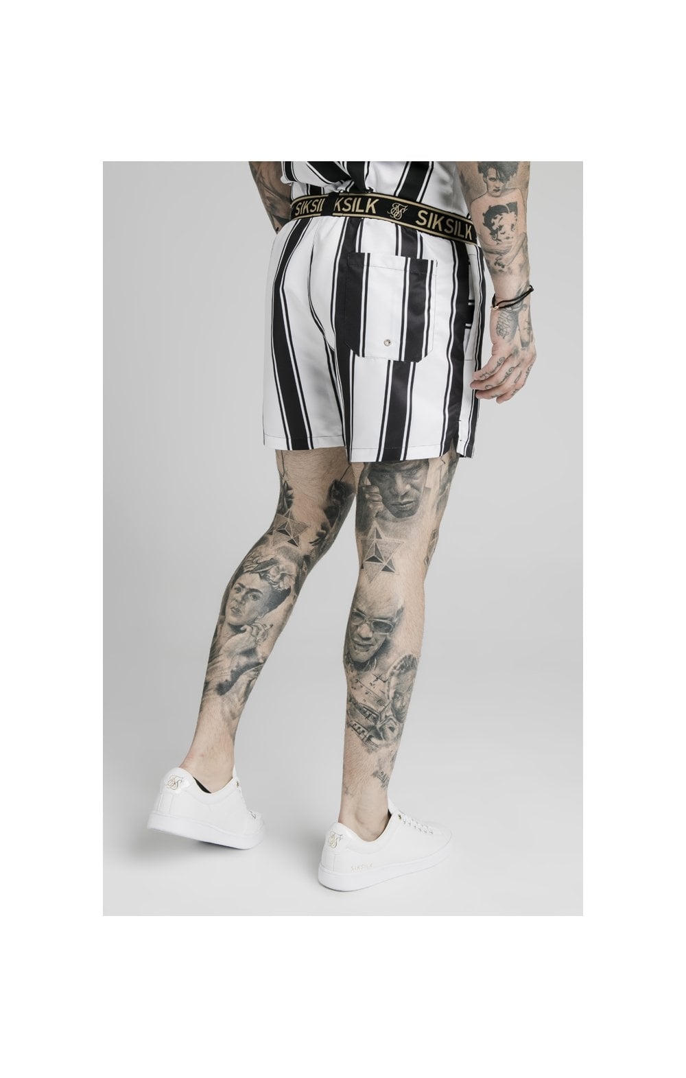 Load image into Gallery viewer, SikSilk Standard Swim Shorts - Black & White (3)