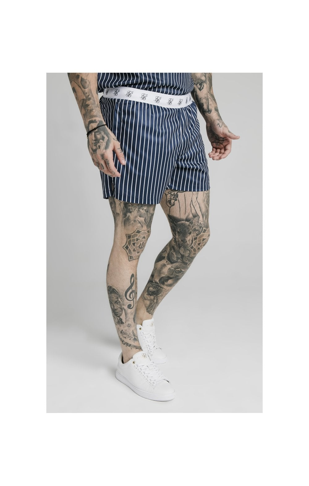 SikSilk Eyelet Elasticated Swim Shorts - Navy & White