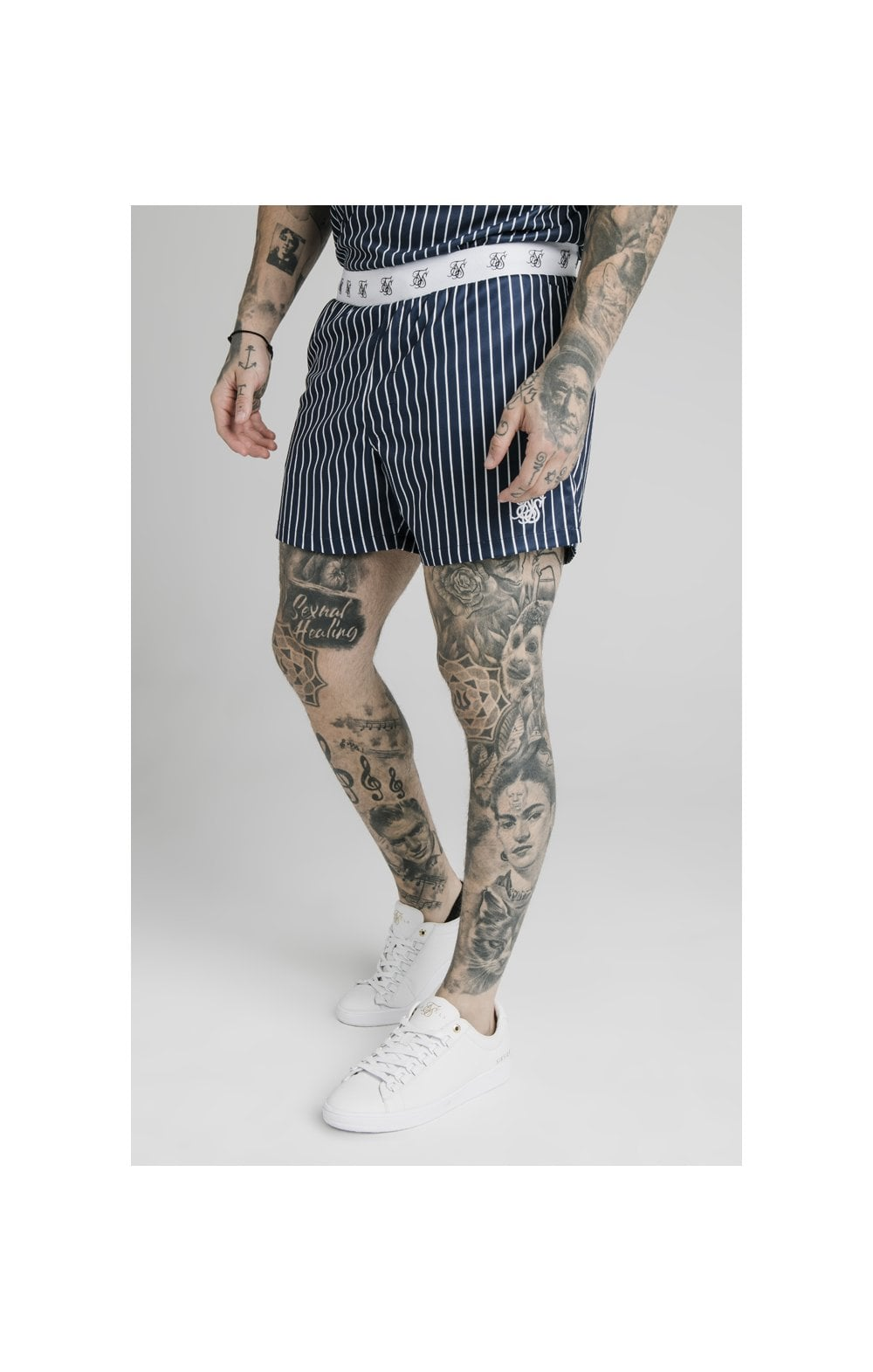 SikSilk Eyelet Elasticated Swim Shorts - Navy & White (1)