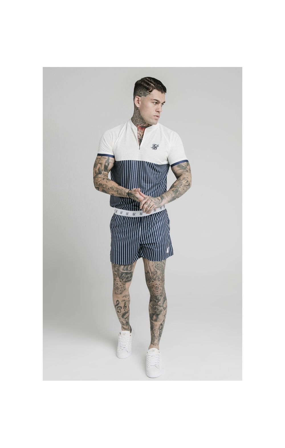 SikSilk Eyelet Elasticated Swim Shorts - Navy & White (2)