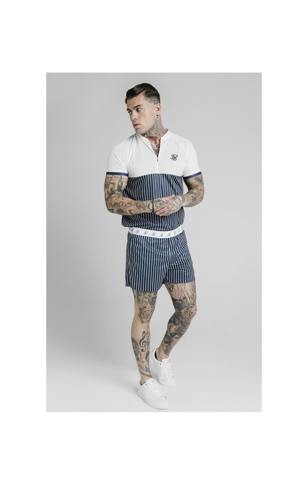 SikSilk Eyelet Elasticated Swim Shorts - Navy & White (4)