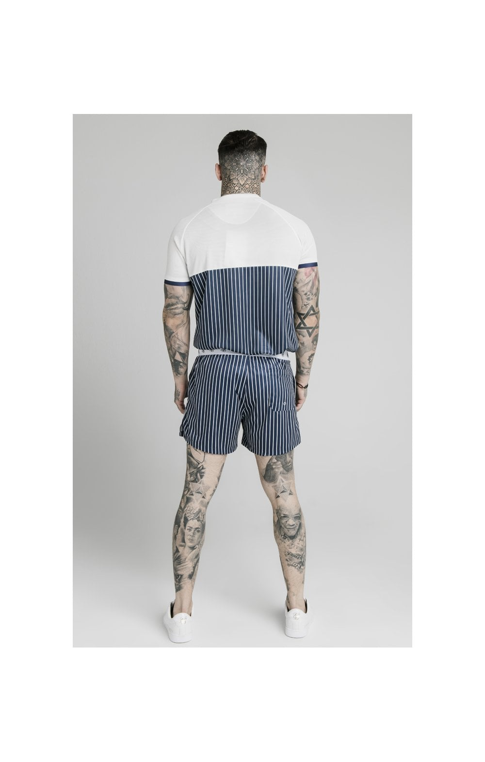 SikSilk Eyelet Elasticated Swim Shorts - Navy & White (8)