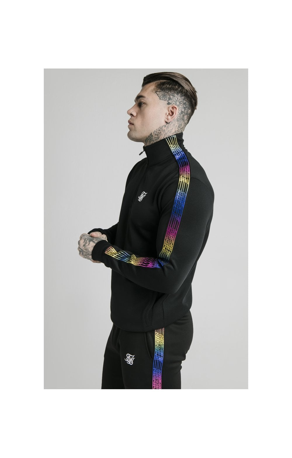 SikSilk Quarter Zip Fade Runner Funnel Neck Track Top - Black