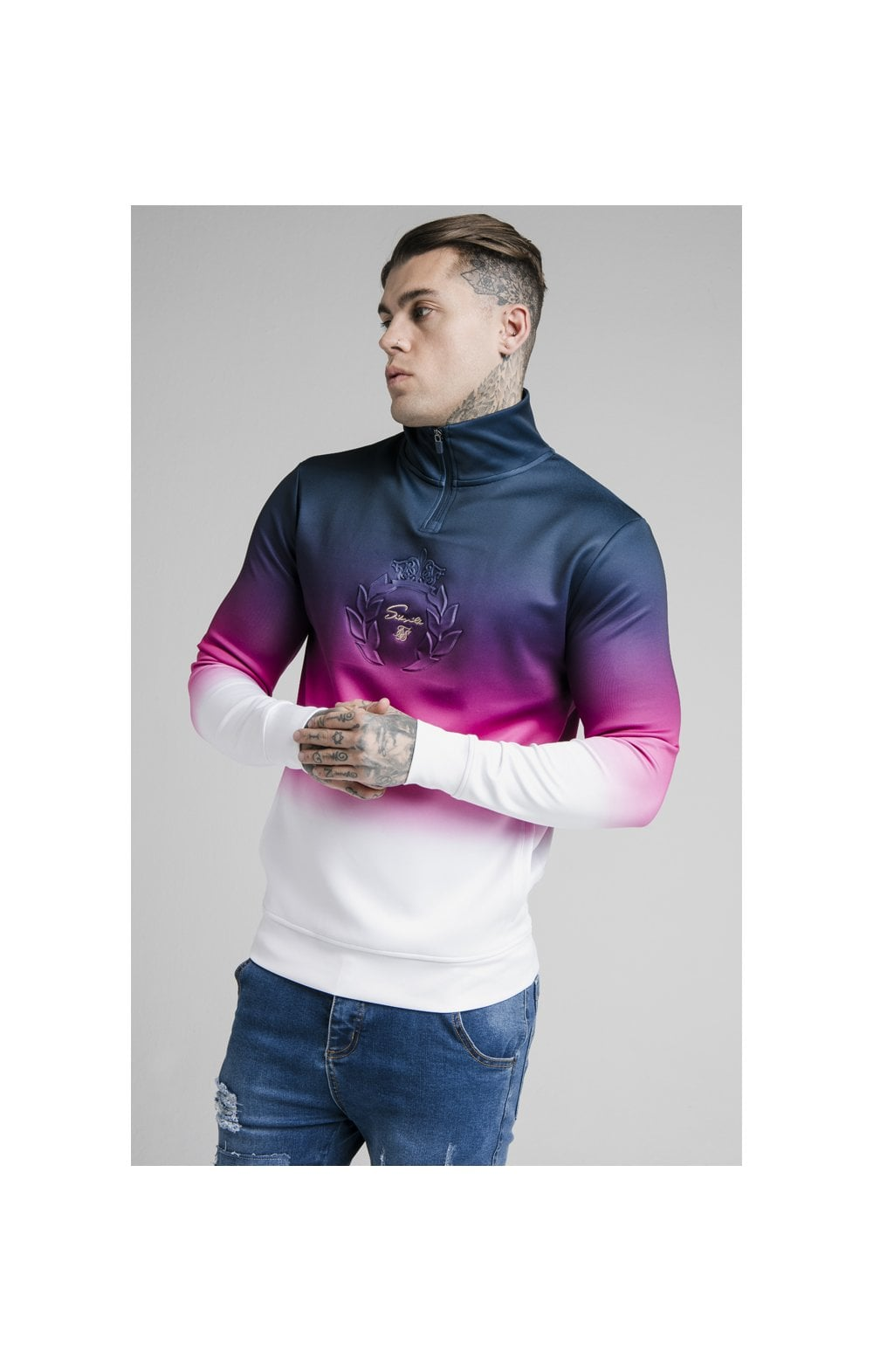 SikSilk Quarter Zip Overhead Track Top - Navy, Pink & White