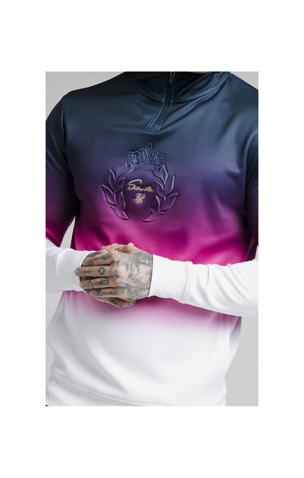 SikSilk Quarter Zip Overhead Track Top - Navy, Pink & White (1)