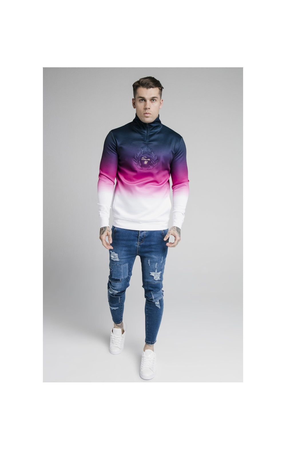 SikSilk Quarter Zip Overhead Track Top - Navy, Pink & White (2)