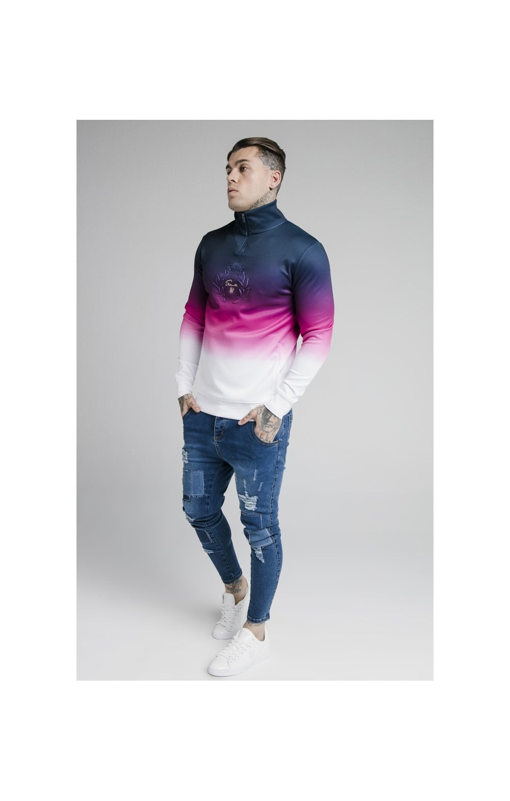 SikSilk Quarter Zip Overhead Track Top - Navy, Pink & White (3)