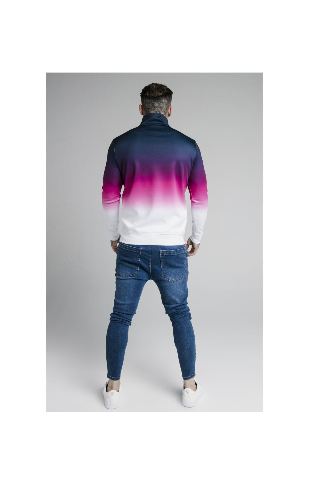 SikSilk Quarter Zip Overhead Track Top - Navy, Pink & White (4)