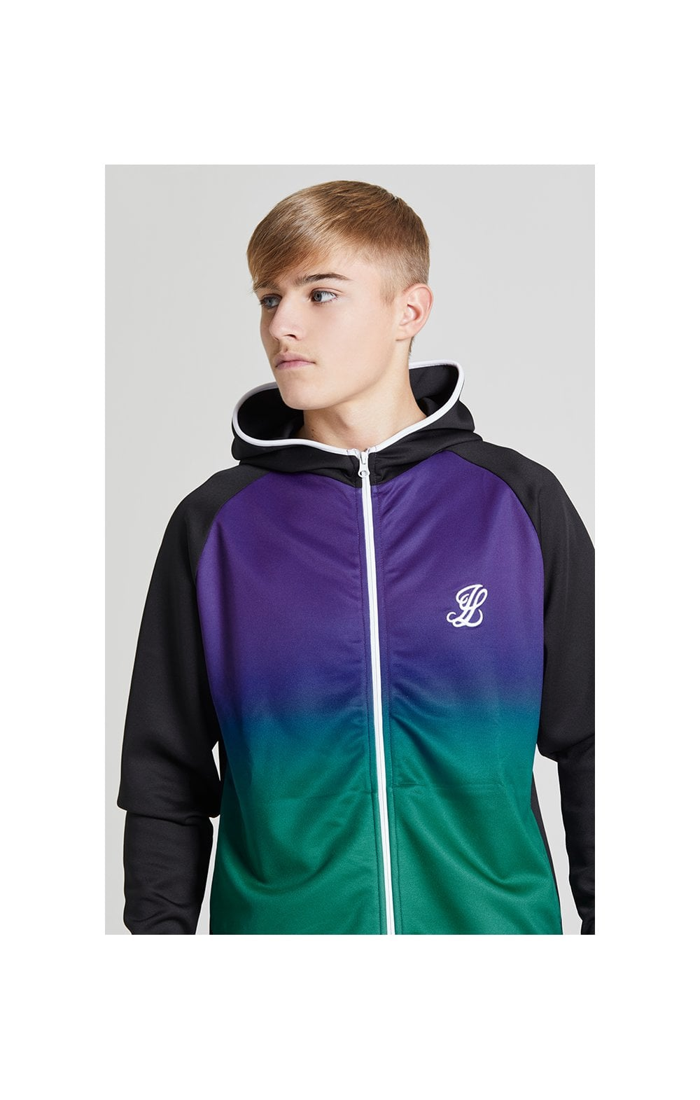 Illusive London Fade Athlete Hoodie – Black, Purple & Teal Green