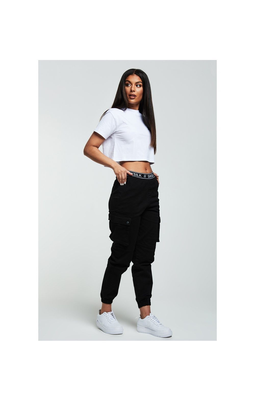SikSilk Retro Box Crop Tee – White (3)