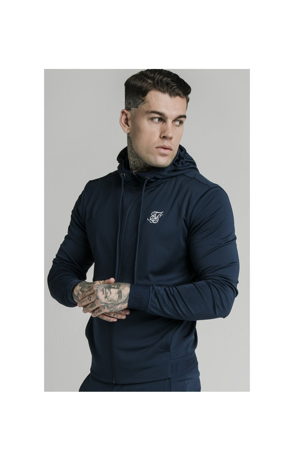 SikSilk Agility Zip Through Hoodie - Navy