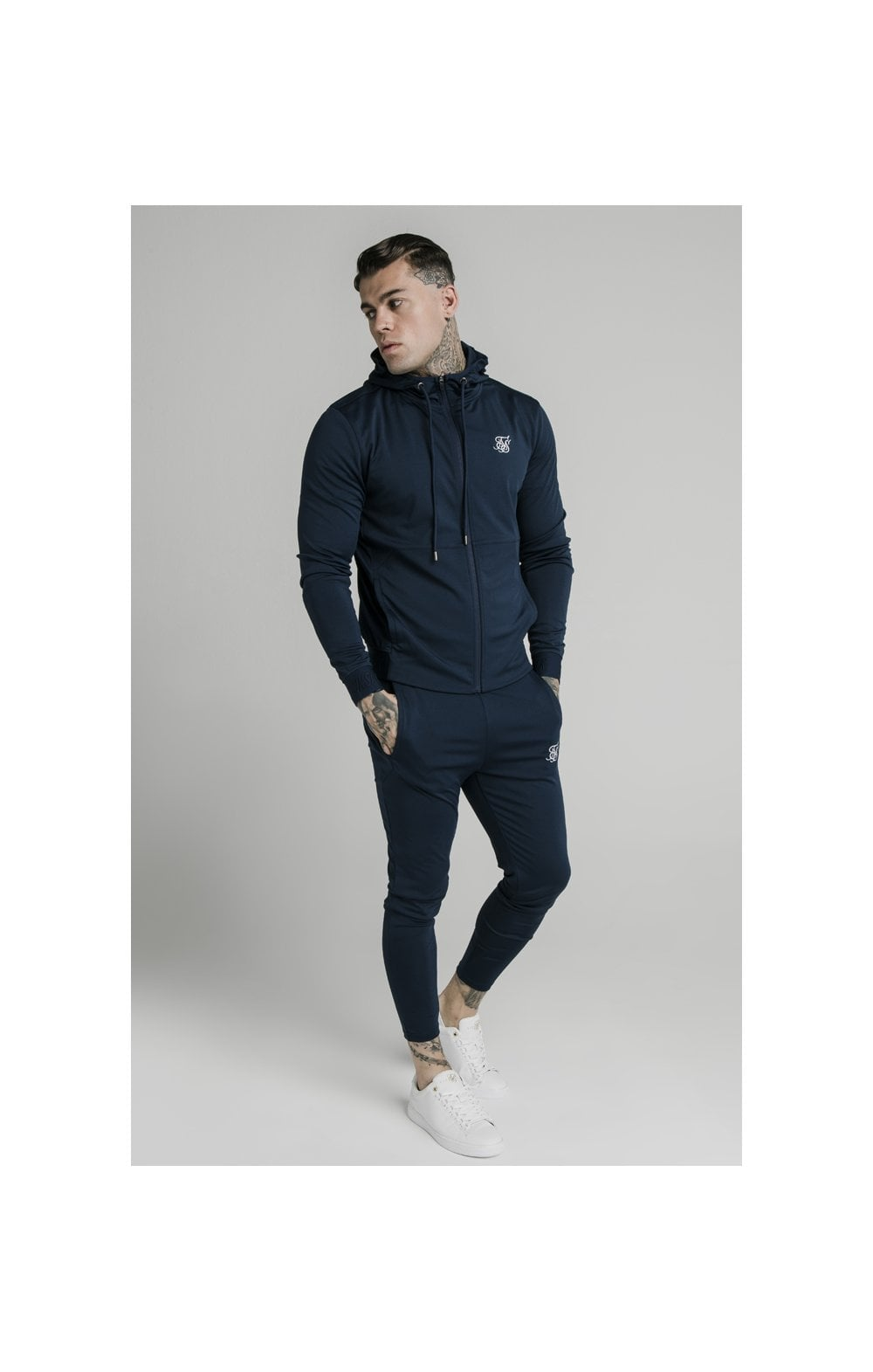 Load image into Gallery viewer, SikSilk Agility Zip Through Hoodie - Navy (2)