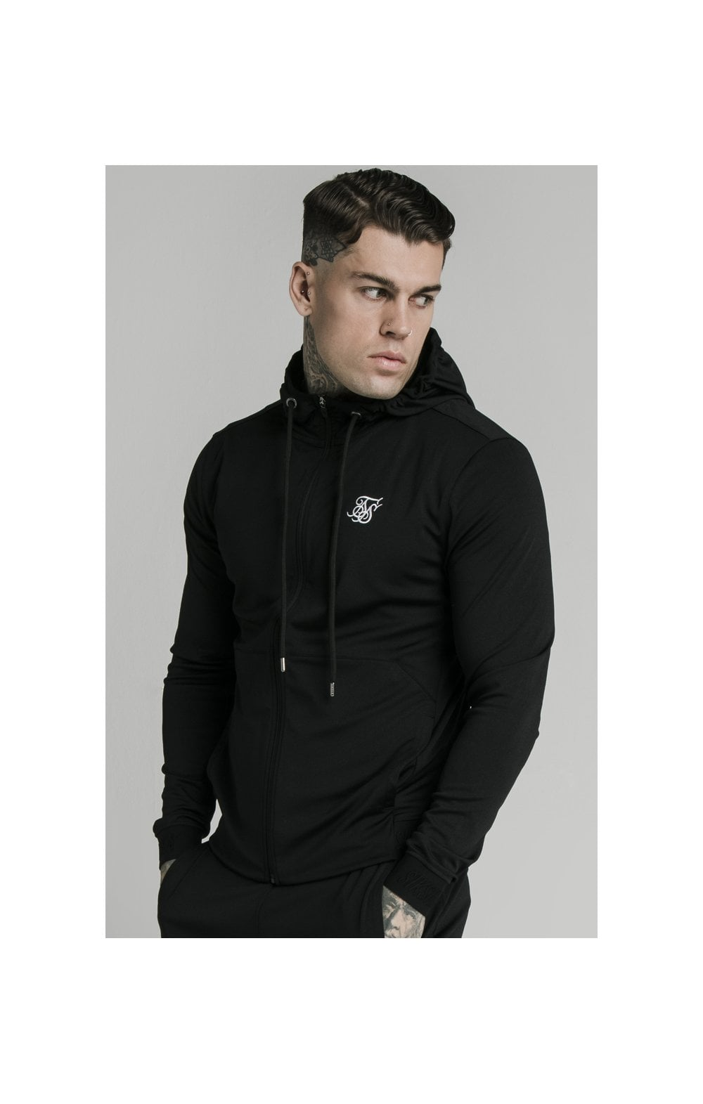 SikSilk Agility Zip Through Hoodie - Black
