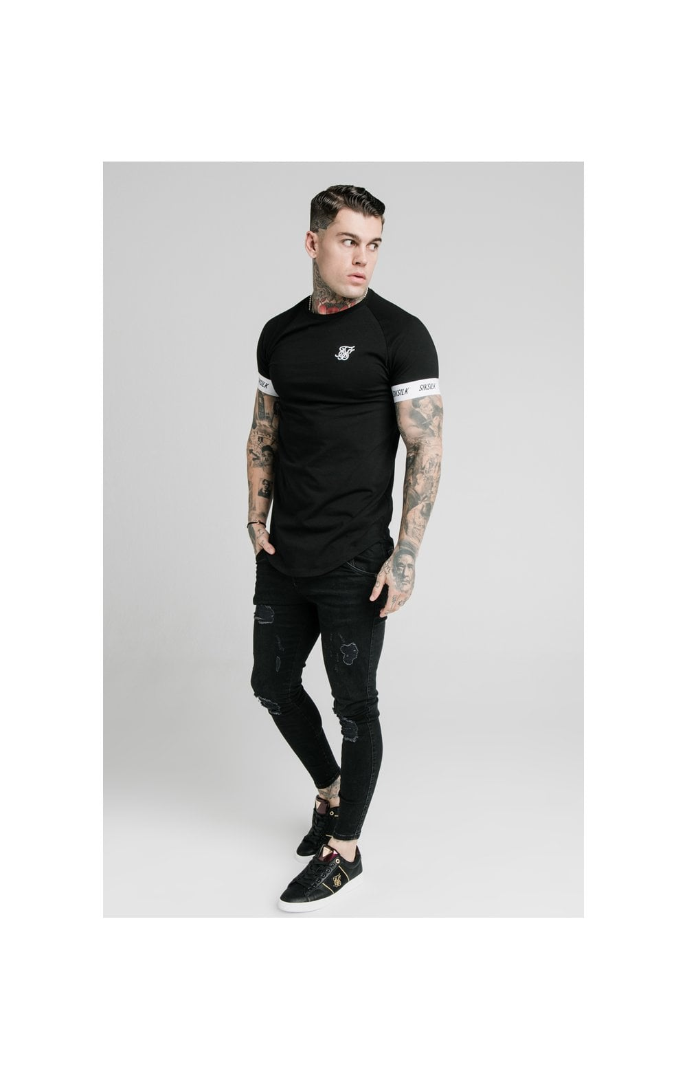 Load image into Gallery viewer, SikSilk S/S Raglan Tech Tee - Black (3)