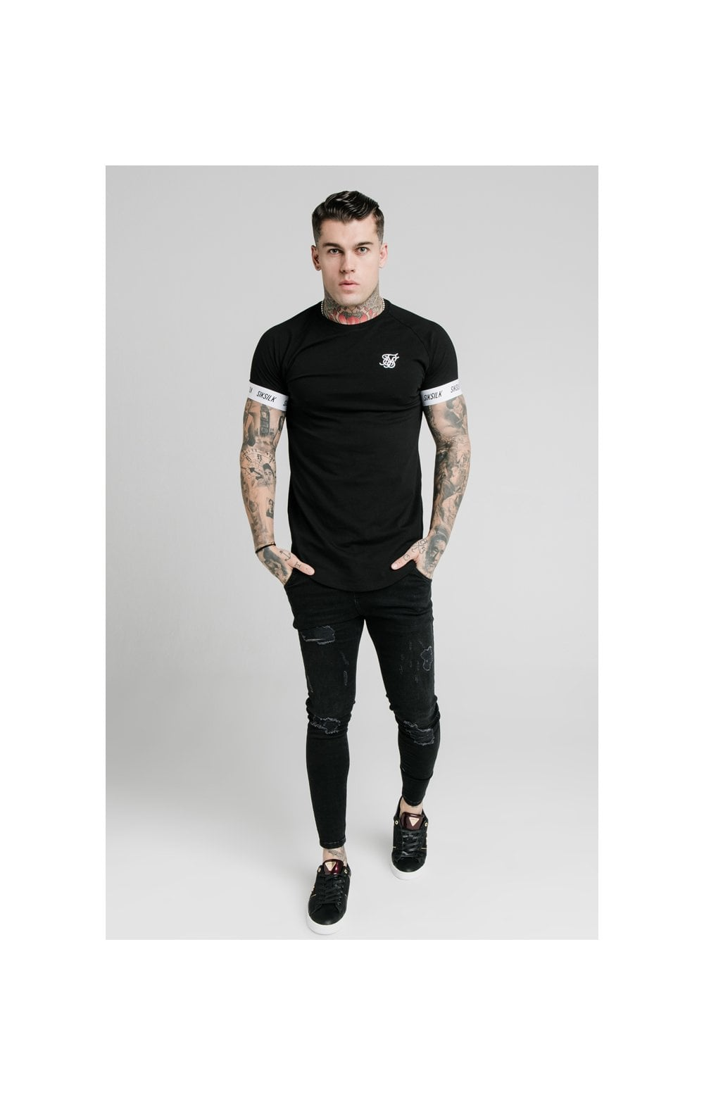 Load image into Gallery viewer, SikSilk S/S Raglan Tech Tee - Black (4)