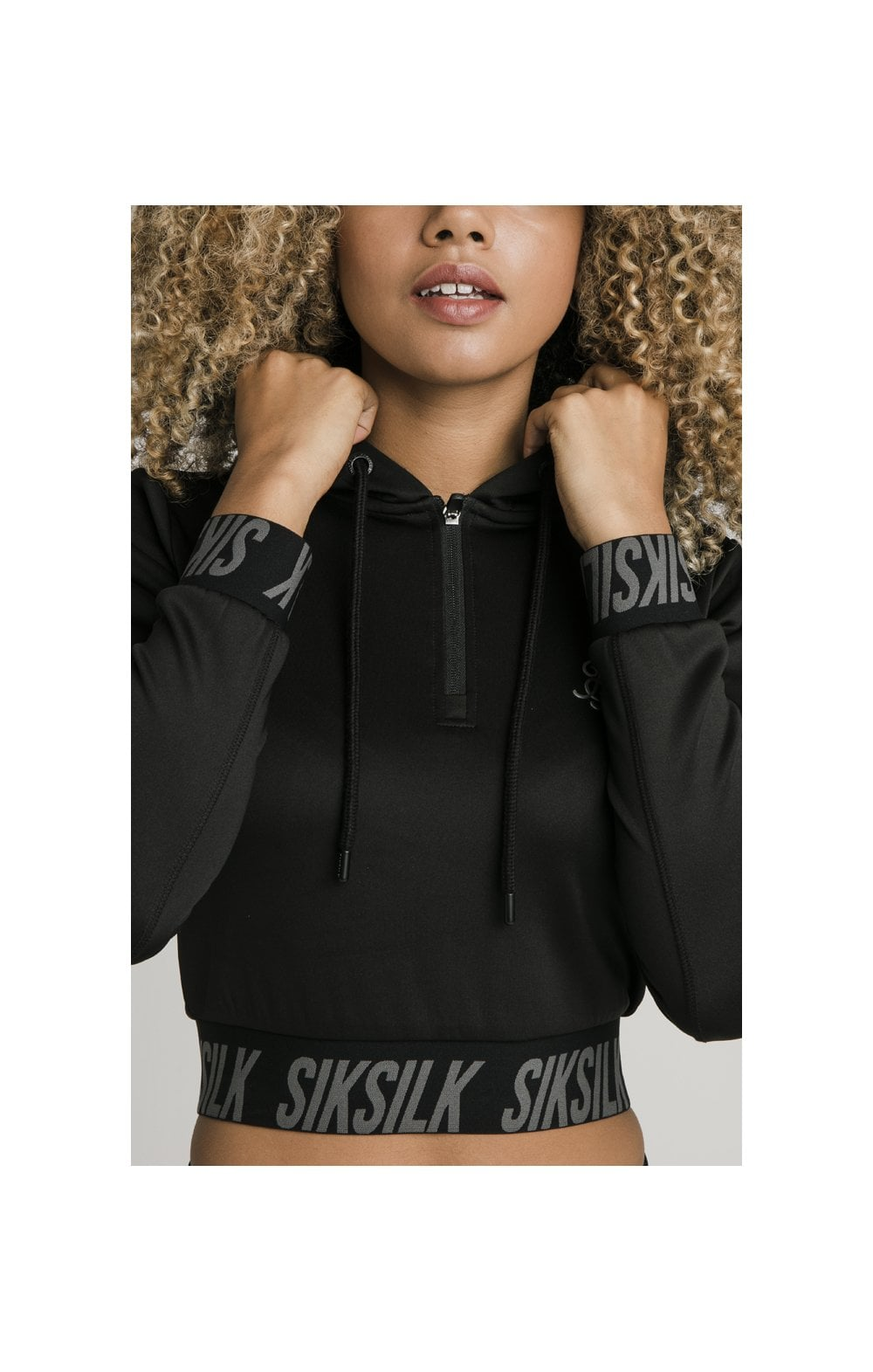 SikSilk Cropped Gym Track Top - Black (1)