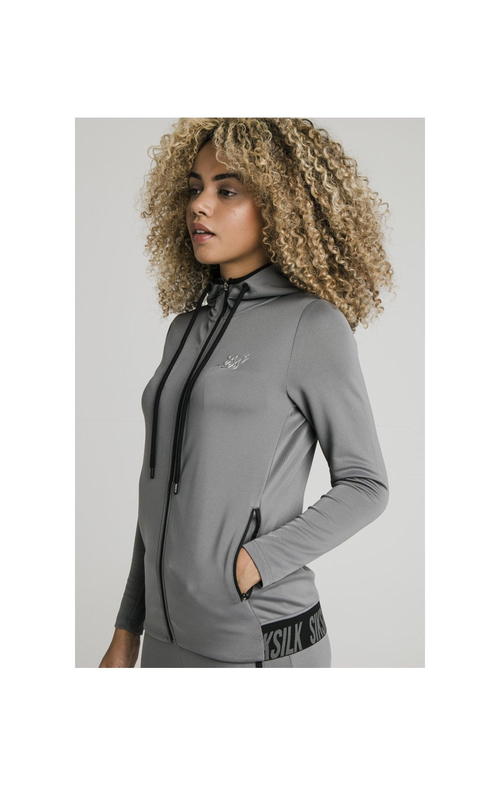 SikSilk Gym Track Jacket - Grey