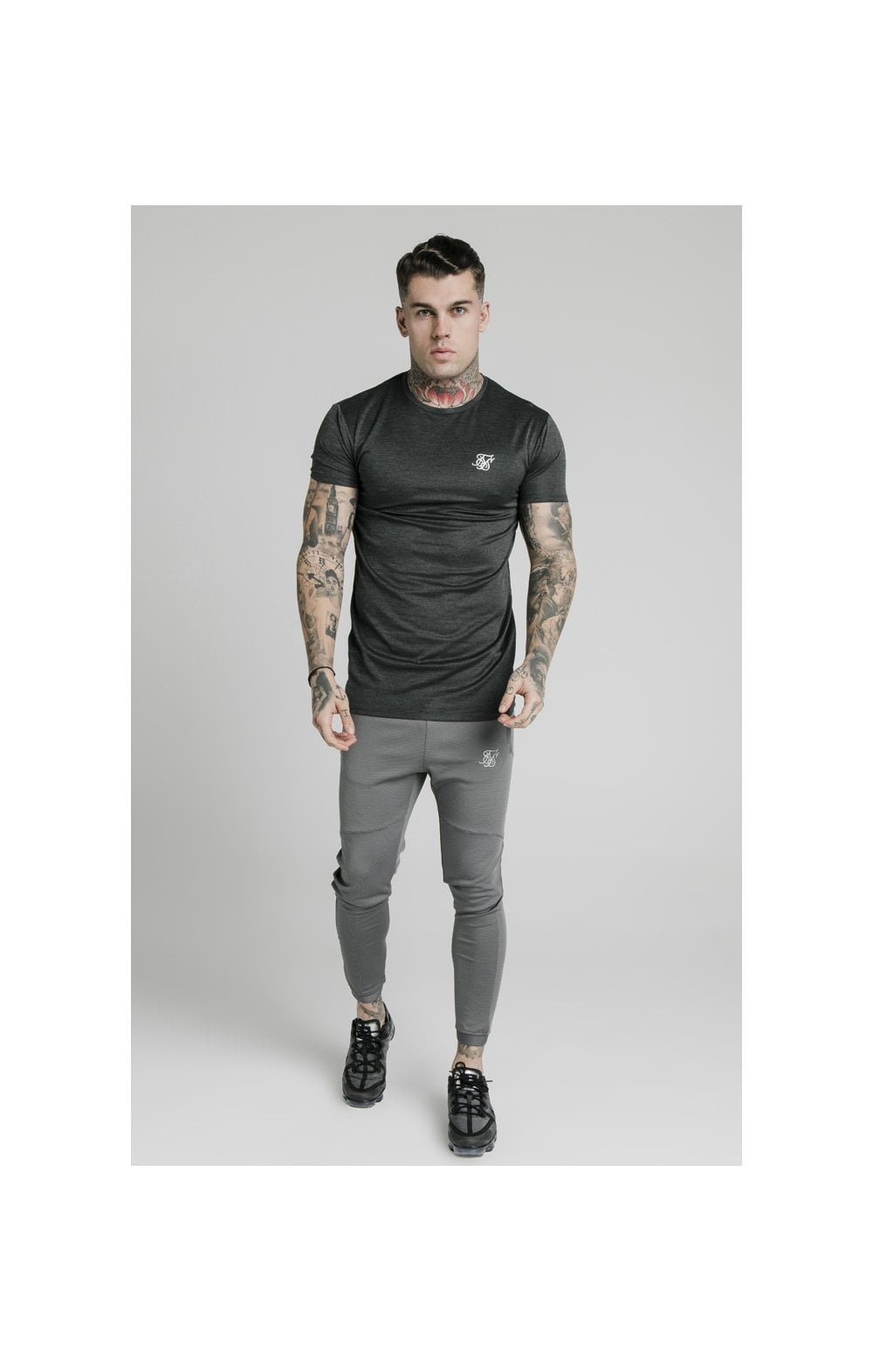 SikSilk Active Straight Hem Gym Tee - Charcoal Marl (2)