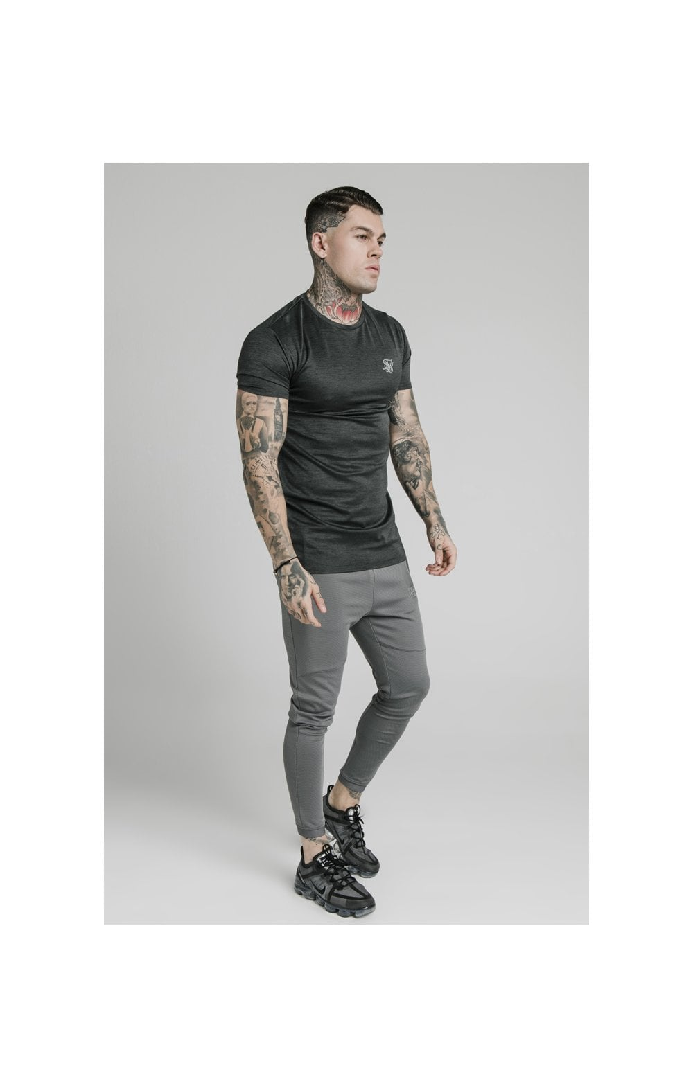 SikSilk Active Straight Hem Gym Tee - Charcoal Marl (4)