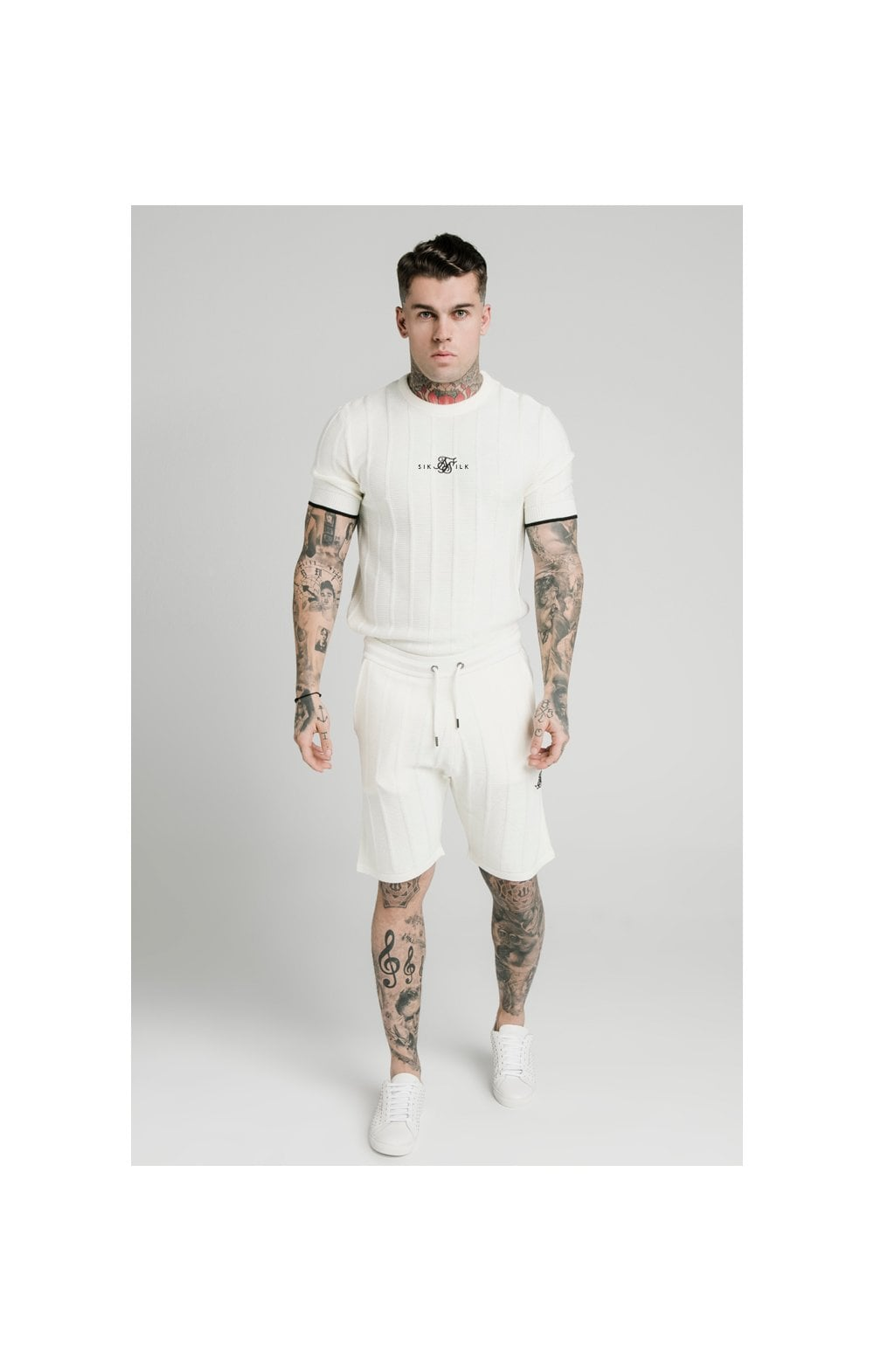 SikSilk Fitted Knit Shorts – Off White (1)