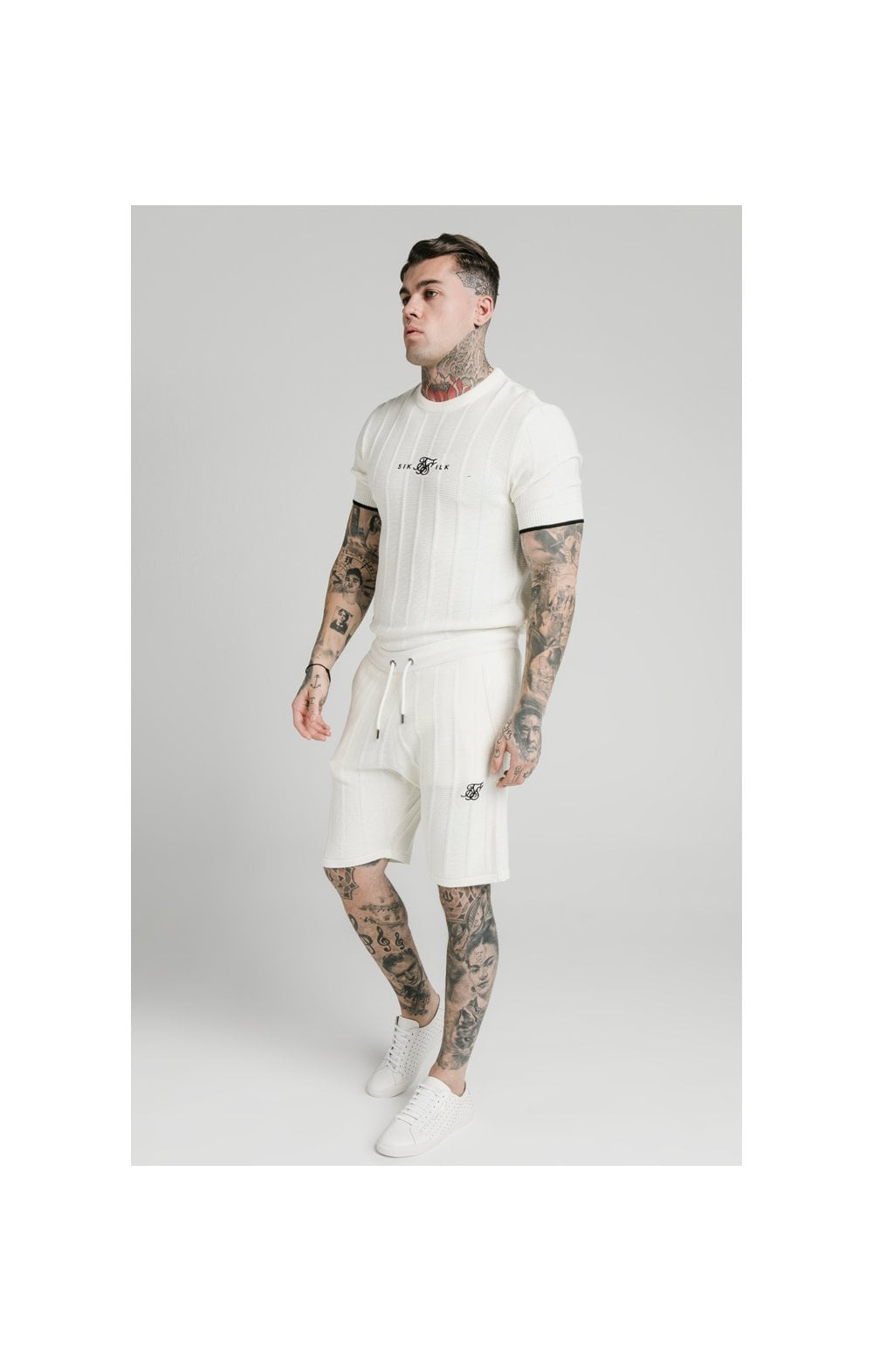 SikSilk Fitted Knit Shorts – Off White (2)