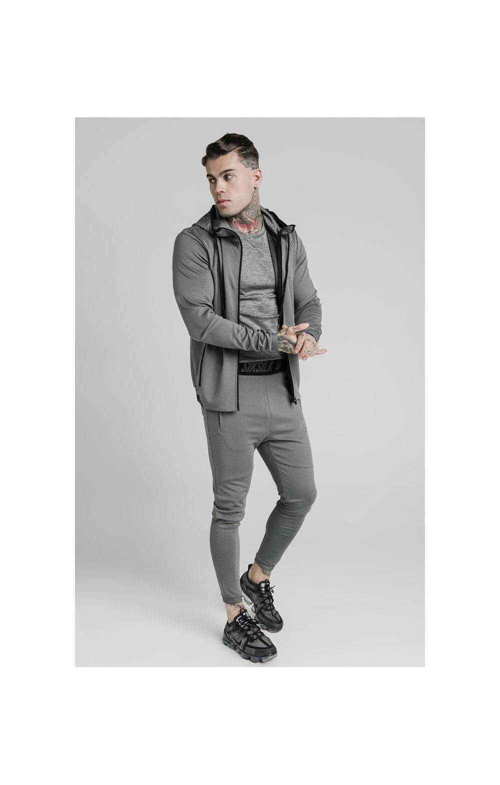 SikSilk Agility Active Zip Through Hoodie - Grey (3)