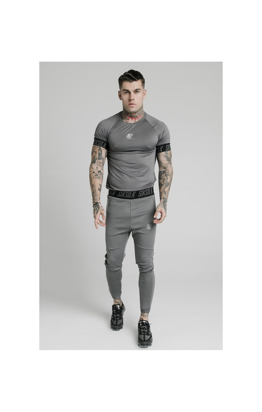 SikSilk S/S Active Tech Tee - Grey (2)